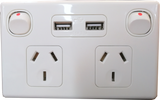 GPO2USB-W, USB-Double Horizontal Switched Socket Outlet, 10A, 250Vac,White