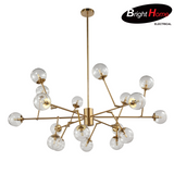 Nordic Style Clear Glass Ball Shaped Iron Pendant lighting with Brass Finish Glass BHP6655PA