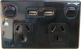 GPO2USB-B, USB-Double Horizontal Switched Socket Outlet, 10A, 250Vac,Black