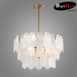 Slice Shape White Swirl Glass Pendant Lamp with Iron and Brass Finish BHP6660PA