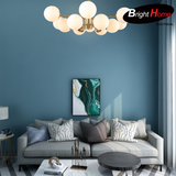 Nordic Style Round Ball Iron Pendant Lighting with Brass Finish and Opal Glass BHP6656PA