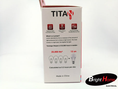 9W Daylight B22 base lightbulb, T-A60-B22-9W