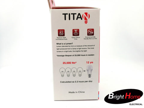 9W Warm White B22 base lightbulb, T-A60-B22-9Y