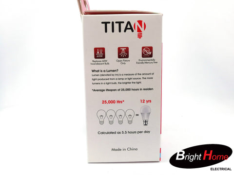 9W Daylight  E27 base light bulb, T-A60-E27-9W