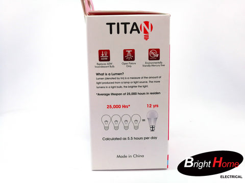 9W Warm White E27 base light bulb, T-A60-E27-9Y