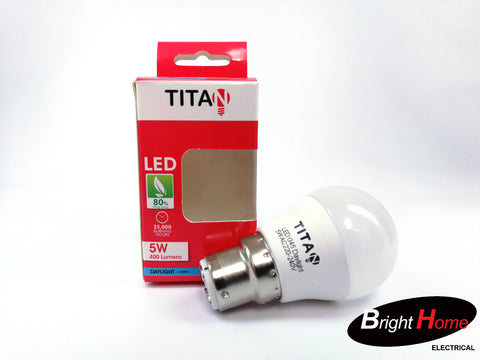 5W Warm White B22 base lightbulb, T-G45-B22-5Y