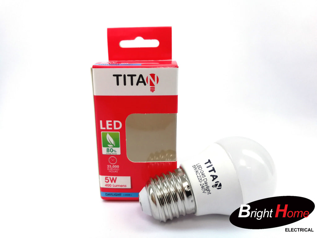 5W Daylight E27 base lightbulb, T-G45-E27-5W