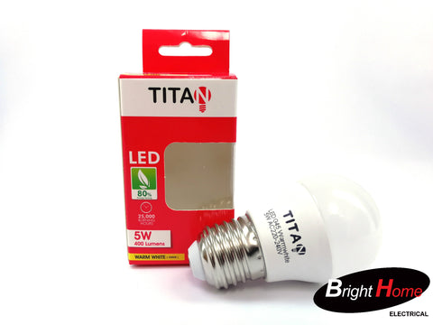 5W Warm White E27 base lightbulb, T-G45-E27-5Y