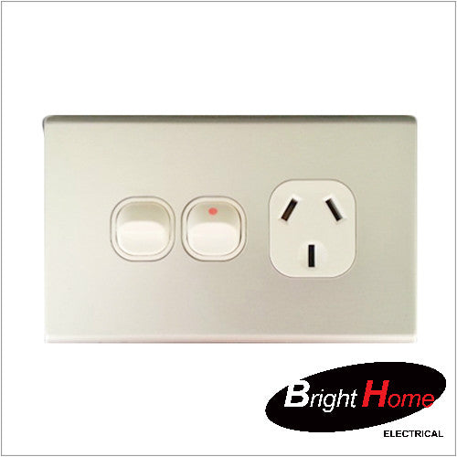 GPO1EXH-AL, Single Horizontal Switched Socket Outlet, 10A, 250Vac with Extra Switch, Aluminium