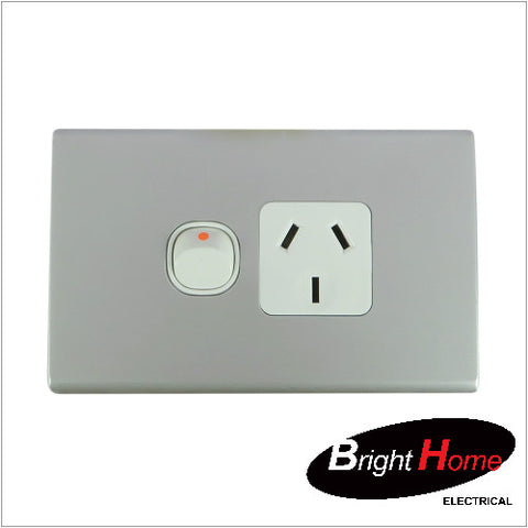 GPO1H-AL, Single Horizontal Switched Socket Outlet, 10A, 250Vac, Aluminium