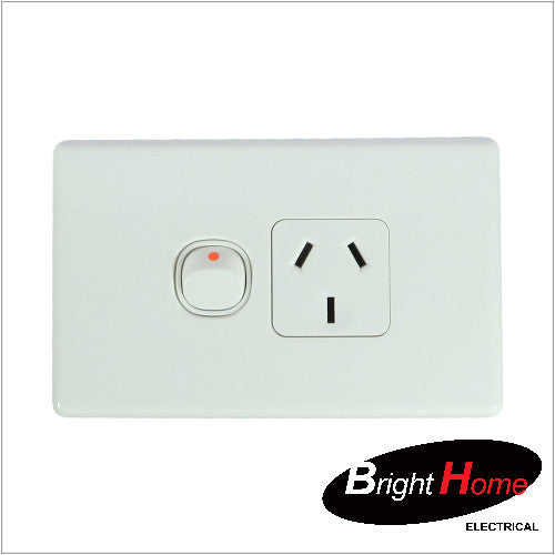 GPO1H-W, Single Horizontal Switched Socket Outlet, 10A, 250Vac, White
