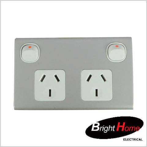 GPO2H-AL, Double Horizontal Switched Socket Outlet, 10A, 250Vac, Aluminium