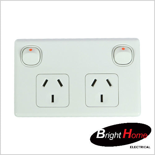GPO2H-W, Double Horizontal Switched Socket Outlet, 10A, 250Vac,White