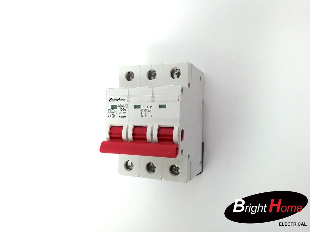 3 pole Main Switch 100A Circuit Breaker – Brighthome Electrical