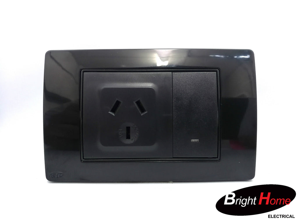 Single Power Point, black, TGPO1-BK, Titan series