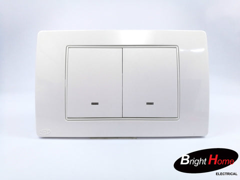 Double Gang Switch, white, TWS2-W, Titan series