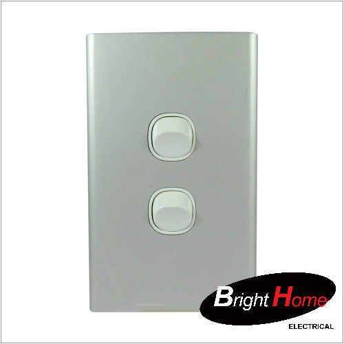 Slim series  2 Gang Switch, 16A, 250Vac, Aluminium  sws2-wal