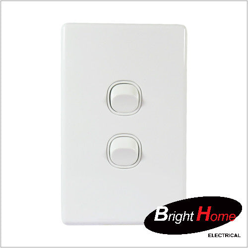 WS2-W, 2 Gang Switch, 16A, 250Vac, White