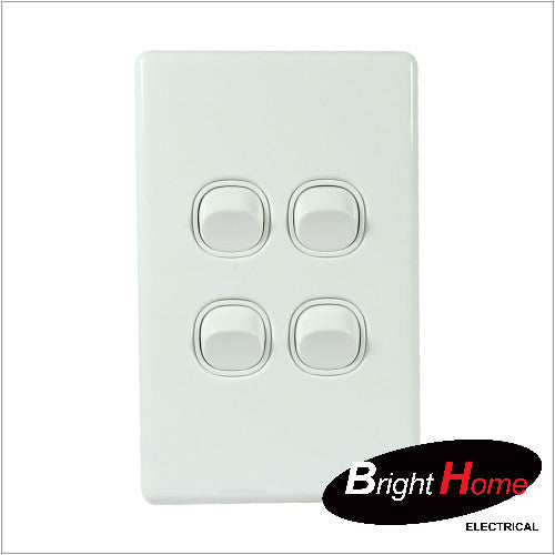WS4-W, 4 Gang Switch, 16A, 250Vac, White