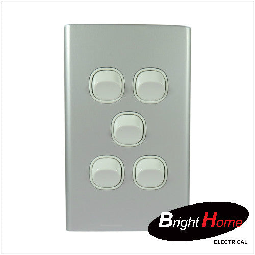 WS5-AL, 5 Gang Switch, 16A, 250Vac, Aluminium