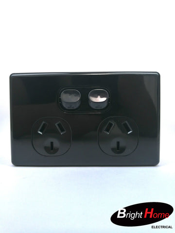 Slim series Double Horizontal Switched Socket Outlet, 10A, 250Vac, black  SGPO2H-BB