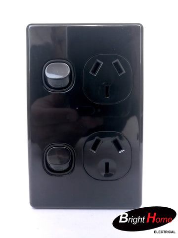Slim series Double Vertical Switched Socket Outlet, 10A, 250Vac, black  SGPO2V-BB