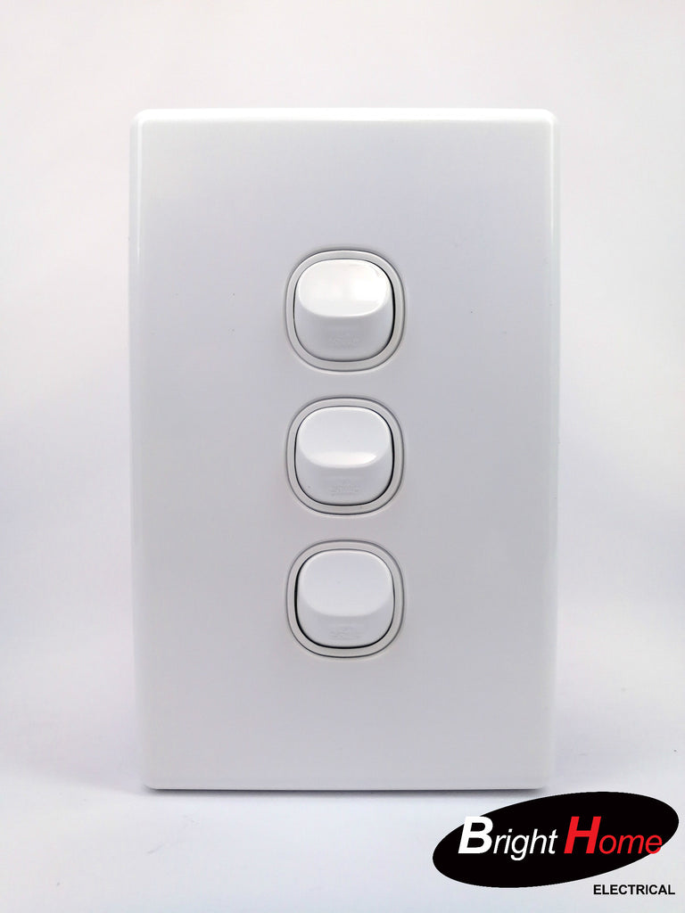 Slim series  3 Gang Switch, 16A, 250Vac, White  sws3-ww