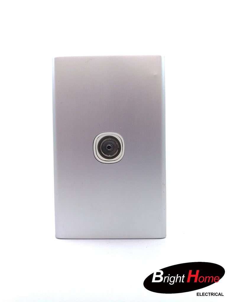 TV Socket White Aluminium