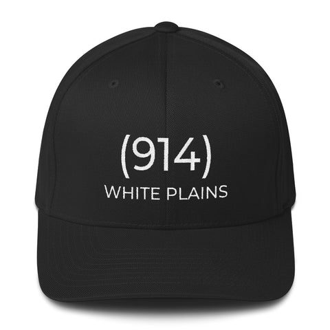 (914) White Plains Black & White Cap