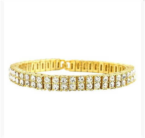 Double Row Iced Out Tennis Bracelet