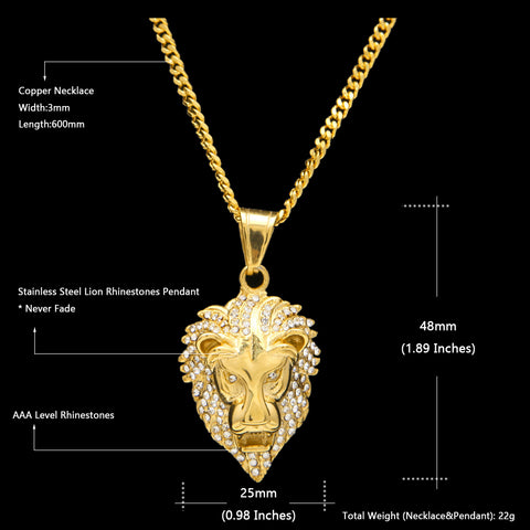 iced out lion chain specs