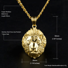 Gold Color Lion Necklace and Pendant
