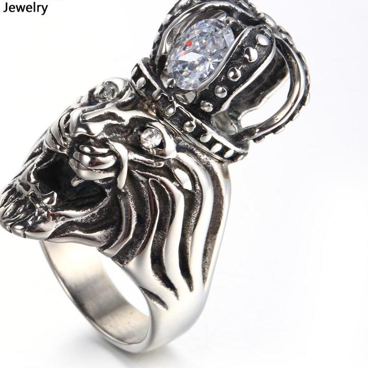 ring yellow lion s pinky genuine xl rings gold face rng head men diamond