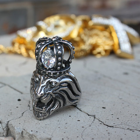 Lion Ring with Iced out Crown - LA Gold Cartel