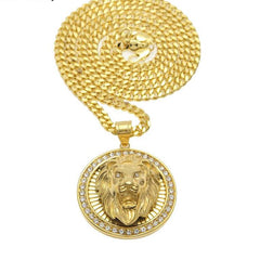 iced out lion head pendant/chain