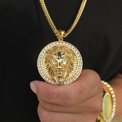 man holding lion head chain
