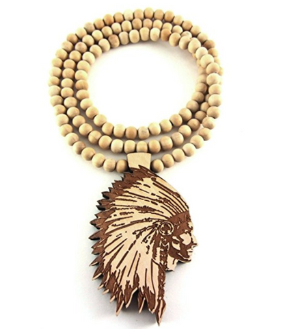 Wooden Chief Pendant and Chief Chain - LA Gold Cartel