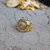 Image of gold lion ring with background