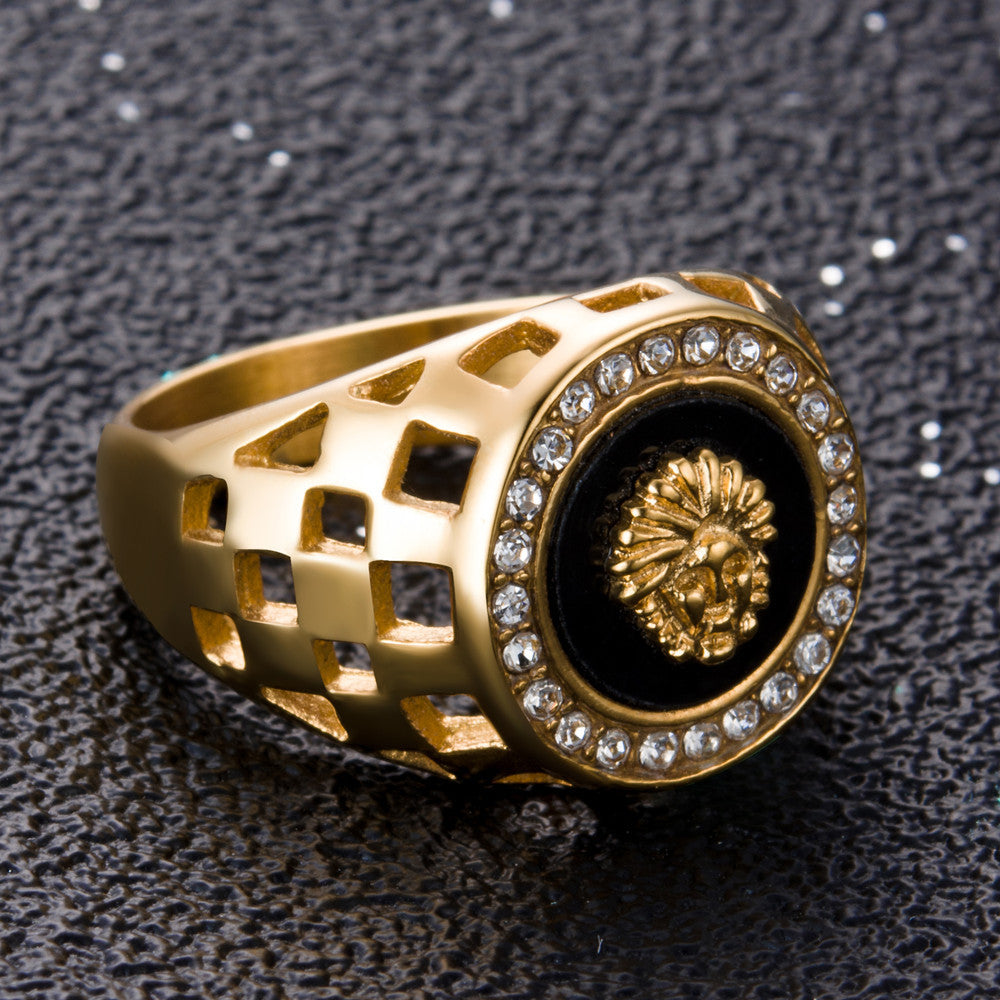 iced out lion ring gold