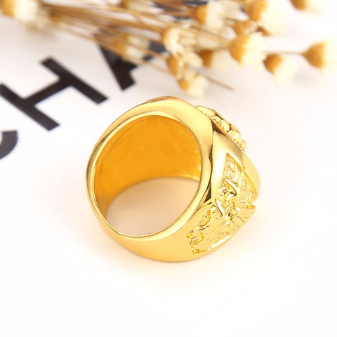 gold lion ring top side