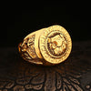 Image of bright colored gold lion ring sideview