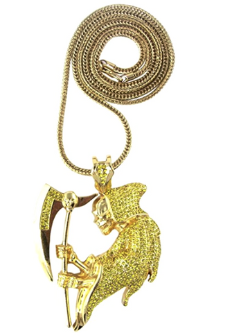 Canary Yellow Diamond Reaper pendant with Franco Gold Chain