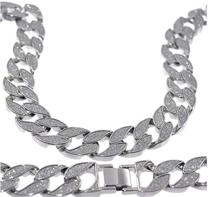 Silver Lock Cuban Chain with Iced out CZ diamonds - LA Gold Cartel