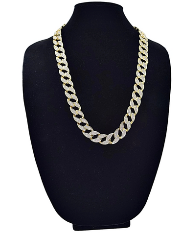 Iced out 14k Gold Finish Lock Chain - LA Gold Cartel