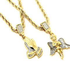 Angel Pendant & Prayer Pendant with Gold Rope Chain