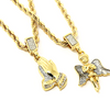 Image of Angel Pendant & Prayer Pendant with Gold Rope Chain