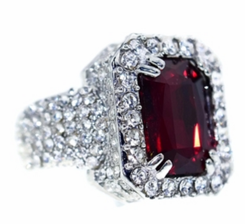 Faux Ruby Gem Ring With Iced out Silver Base