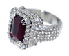 Image of Faux Ruby Gem Ring With Iced out Silver Base - LA Gold Cartel