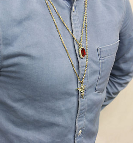 Angel and Ruby Gem Stone Pendant With Two Gold Chains Set - LA Gold Cartel