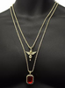 Image of Angel and Ruby Gem Stone Pendant With Two Gold Chains Set - LA Gold Cartel